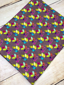 Stained Glass Leaves multi purple Cotton Spandex