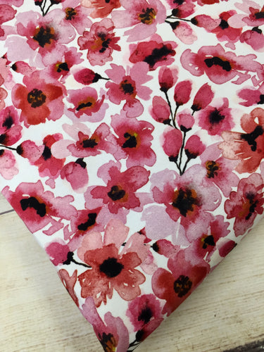 Water Color Floral Cherry French Terry