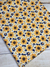 Load image into Gallery viewer, Yellow and Navy Sunflowers French Terry