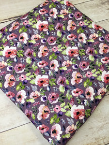 Water Color Floral Purple Bamboo Lycra