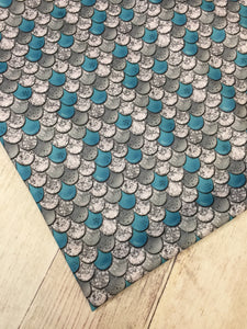 Teal Scales Polyester Interlock