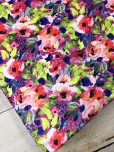 Water color Floral Fuchsia multi color Stretch Minky