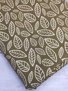Clearance Cotton Spandex Olive Green Leaves