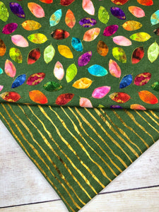 Stained Glass Leaves Single Green Bamboo Spandex