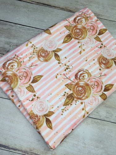 Peach Floral Stripes Stretch Minky