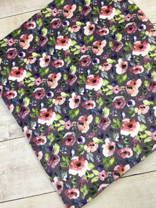 Water color Floral Purple Stretch Minky