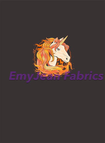 Fire Unicorn Cotton Lycra Panel
