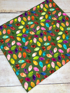 Stained Glass Leaves single Green Cotton Spandex
