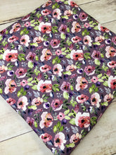 Load image into Gallery viewer, Water Color Floral Purple Cotton Lycra