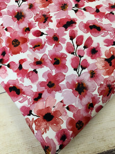 Water Color Floral Cherry Cotton Lycra