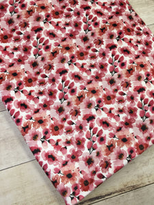 Water color Floral Cherry Stretch Minky