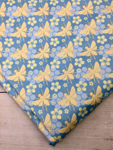 Turquoise Bees Polyester Interlock