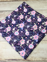 Load image into Gallery viewer, Light Pink and Navy Floral Polyester Interlock