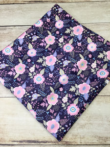 Light Pink and Navy Floral Polyester Interlock