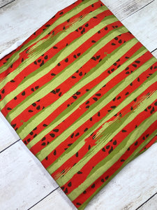 Red and Green Watermelon Stripes Cotton Lycra