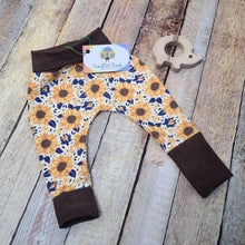 Load image into Gallery viewer, Yellow and Navy Sunflowers Cotton Lycra