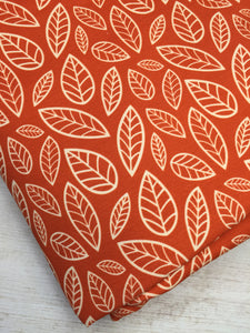 Orange Leaves Cotton Lycra