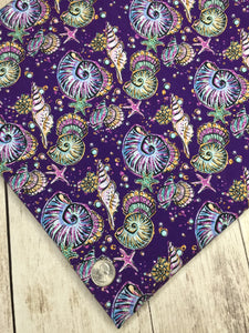 Under the Sea Purple Shells Cotton Lycra