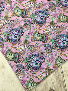 Under the Sea Pink Shells Cotton Spandex