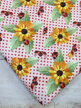 Load image into Gallery viewer, Sunflowers and LadyBugs Cotton Lycra