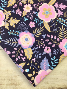 Light Pink and Navy Floral Cotton Spandex