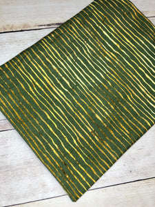 Green and Gold Stripes Cotton Spandex