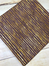 Load image into Gallery viewer, Purple and Gold Stripes Cotton Spandex