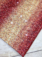 Load image into Gallery viewer, Red Gold Ombré Faux Glitter Polyester Interlock