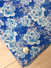 Load image into Gallery viewer, Fairytale Blue Roses Faux Glitter Polyester Interlock