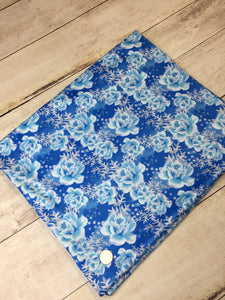 Fairytale Blue Roses Faux Glitter Polyester Interlock