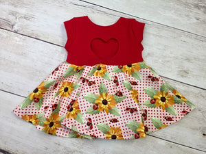 Sunflowers and LadyBugs Cotton Lycra