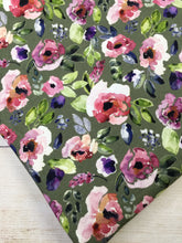 Load image into Gallery viewer, Water Color Floral Green Cotton Lycra