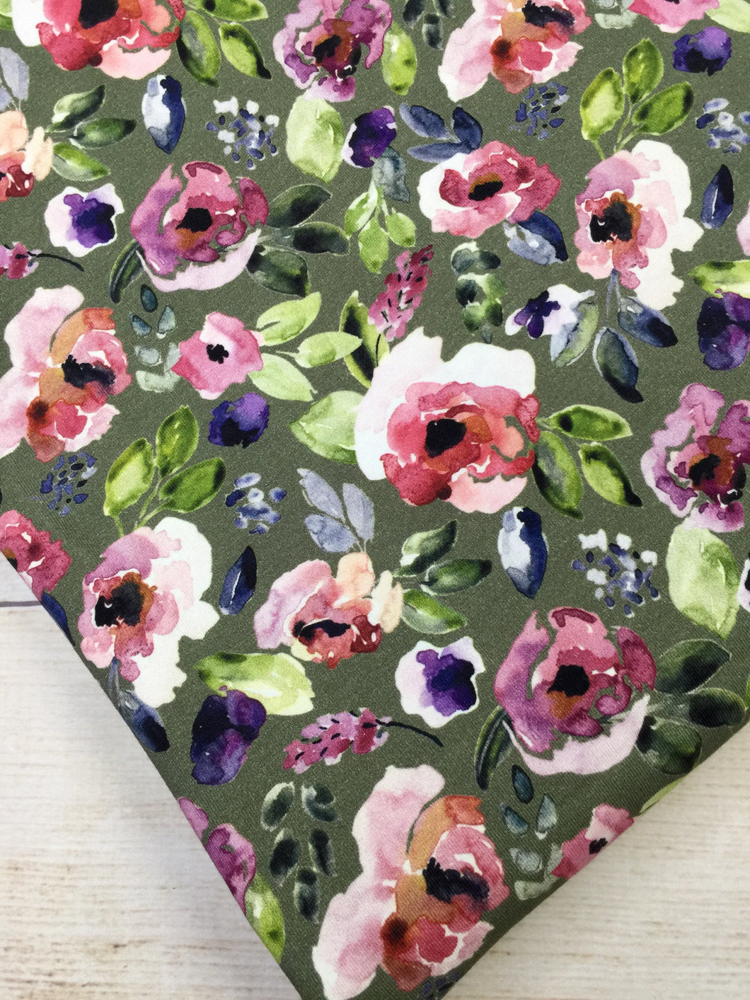 Water Color Floral Green Cotton Lycra