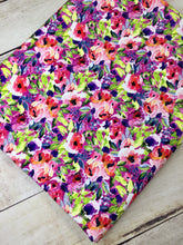Load image into Gallery viewer, Water Color Floral Fuchsia multi color Cotton Spandex