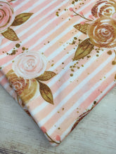 Load image into Gallery viewer, Peach Floral Stripes Stretch Minky