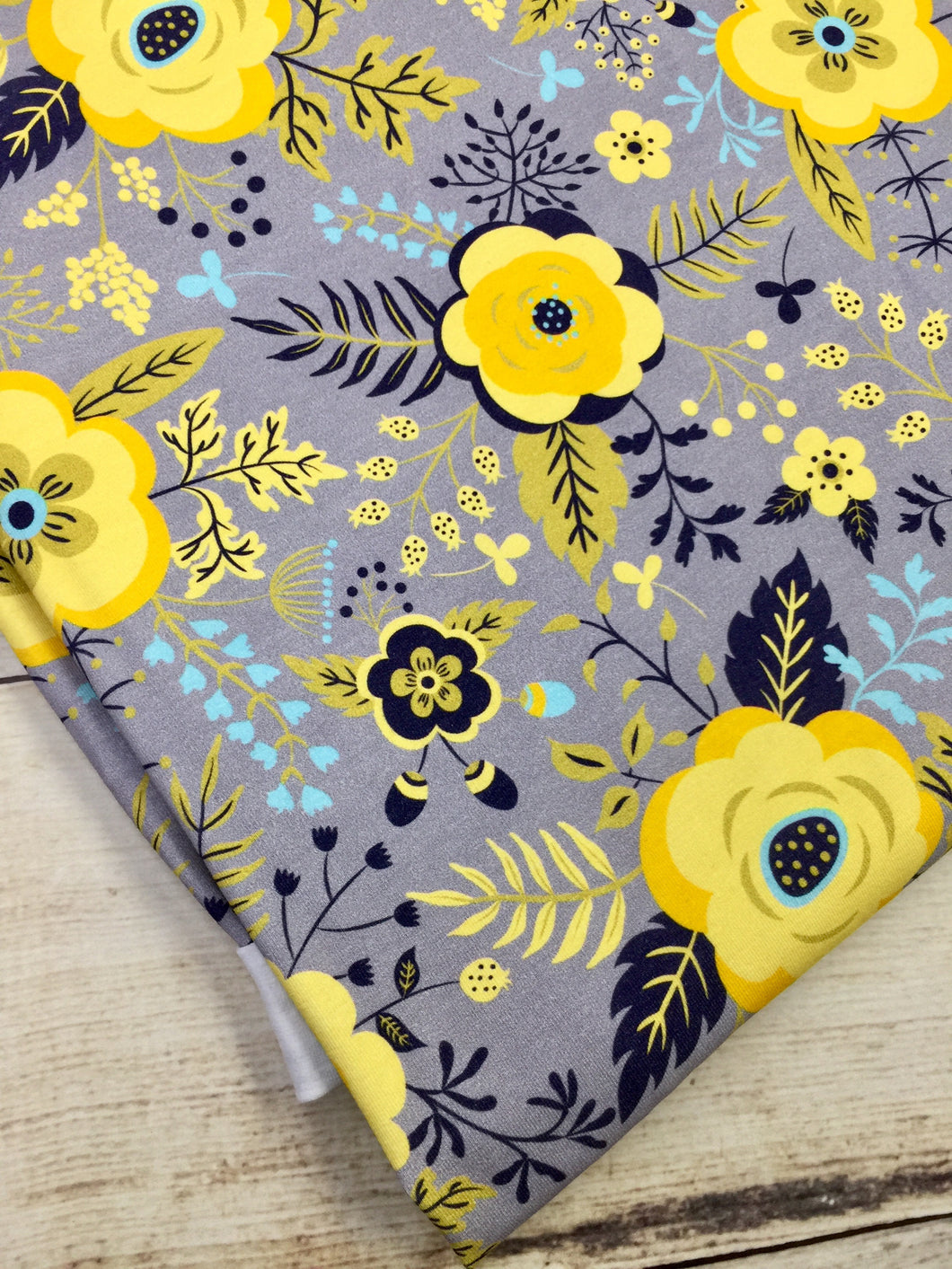 Yellow and Grey Floral Cotton Lycra