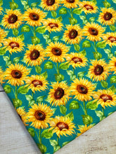 Load image into Gallery viewer, Turquoise Sunflowers French Terry