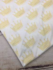 Cream Crowns Polyester Interlock