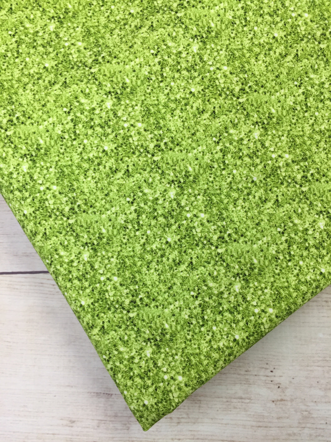 Spring Green Faux Glitter Cotton Lycra