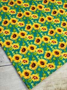 Turquoise Sunflowers Cotton Spandex