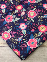 Load image into Gallery viewer, Coral and Navy Floral Polyester Interlock