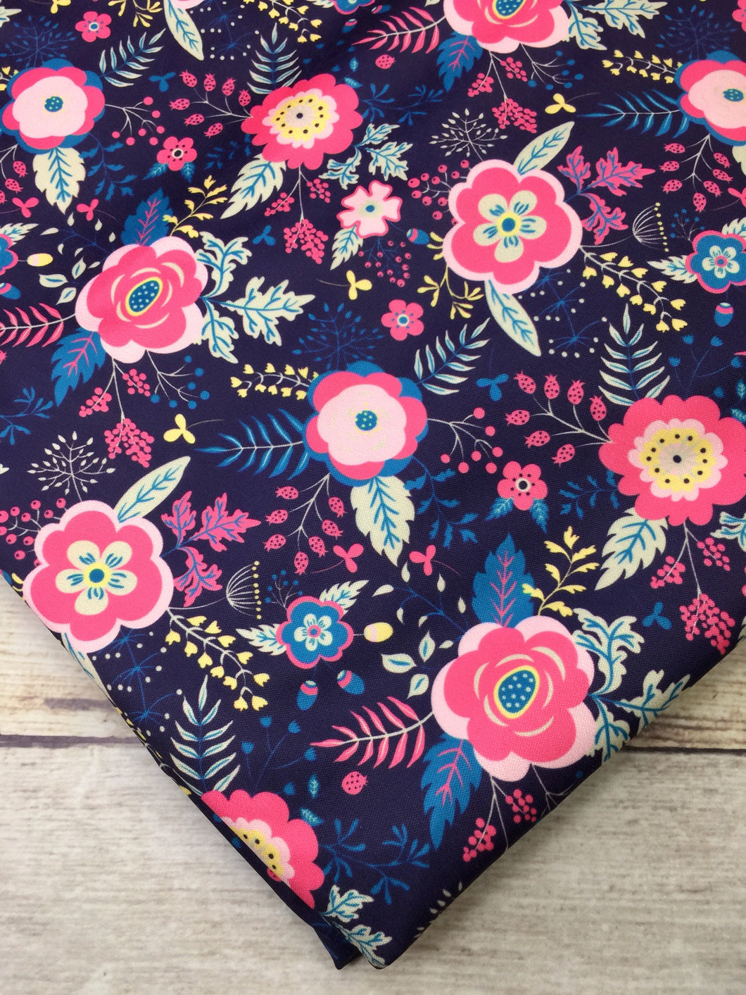 Coral and Navy Floral Polyester Interlock