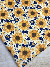 Load image into Gallery viewer, Yellow and Navy Sunflowers Bamboo Lycra