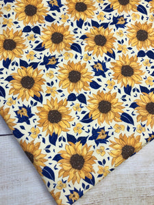 Yellow and Navy Sunflowers Bamboo Spandex