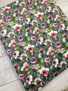 Water color Floral Green Stretch Minky