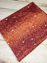 Load image into Gallery viewer, Red Orange Ombré Faux Glitter Polyester Interlock