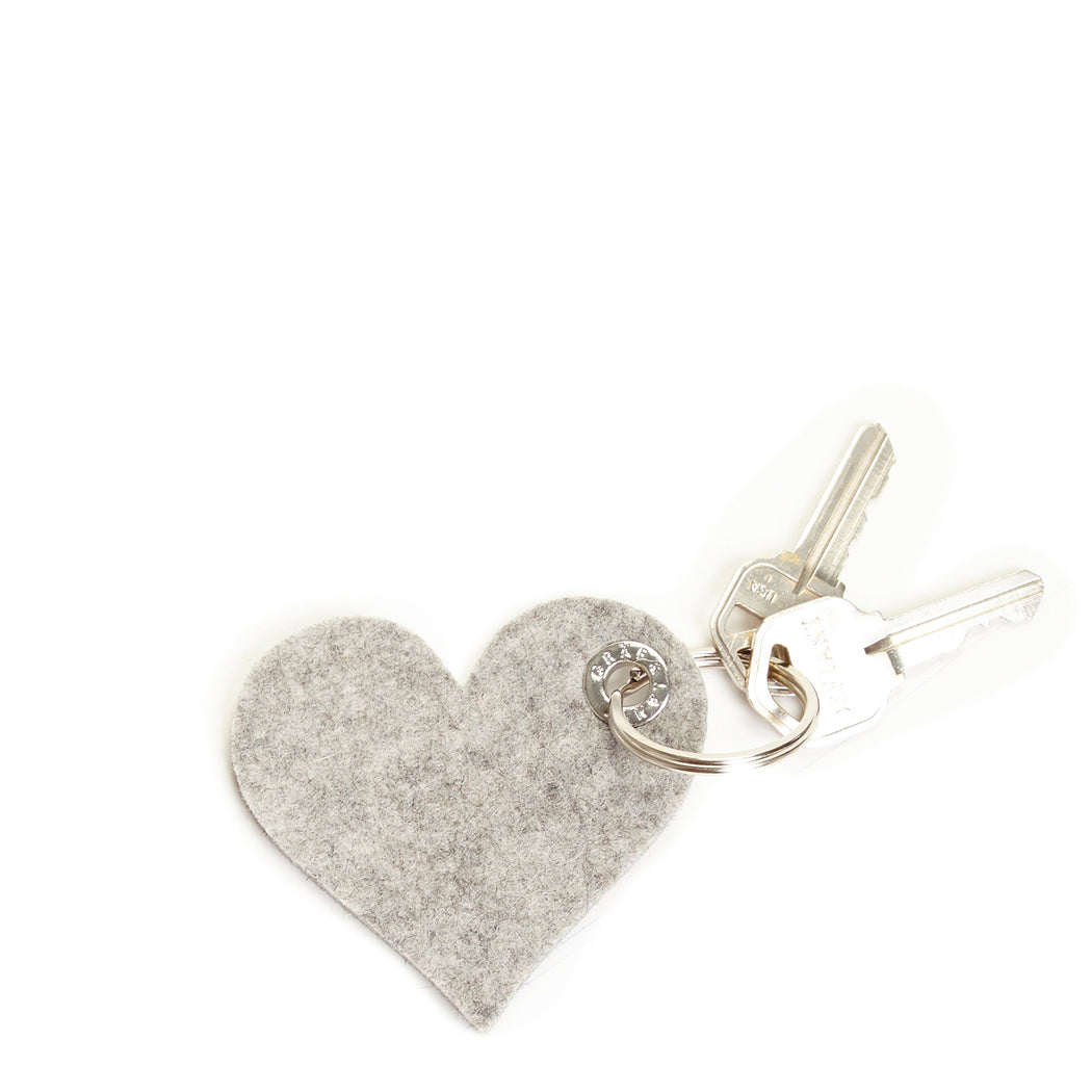 Key Fob Heart Granite Felt 1