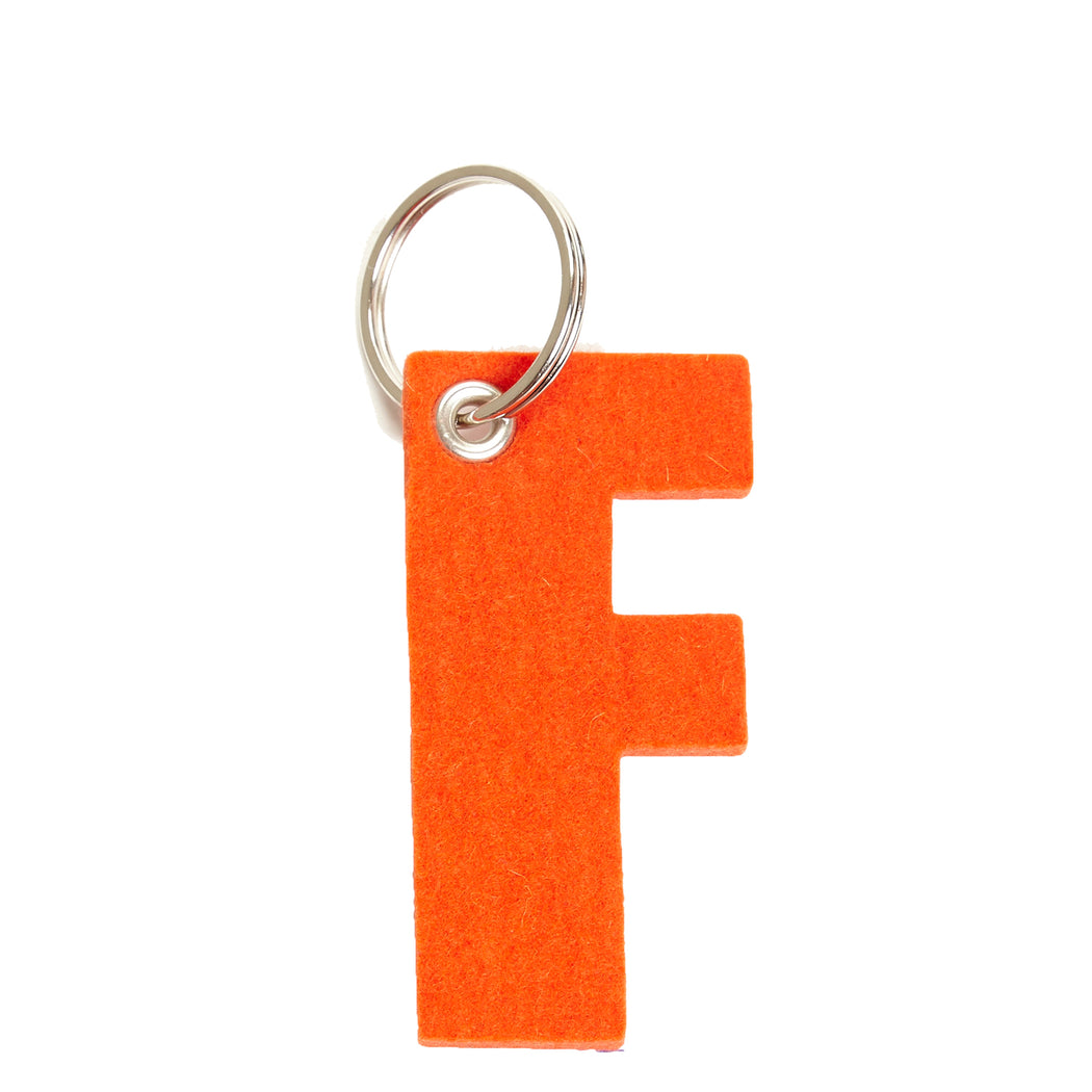 Alphabet Key Fob - Letter F Orange 2