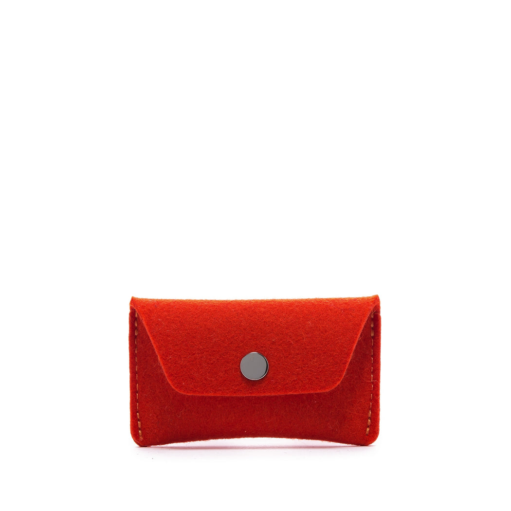 Card Wallet Orange Felt 1