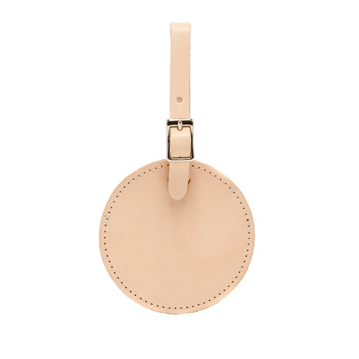 Circle Travel Tag Natural Leather 1